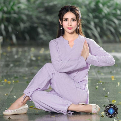 Comfortable 2-Piece Loose Cotton Linen Meditation Tai Chi Clothing Set Purple / M Mind and Spirit