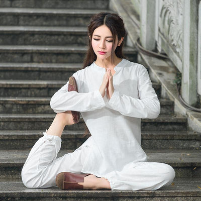 Comfortable 2-Piece Loose Cotton Linen Meditation Tai Chi Clothing Set White / M Mind and Spirit