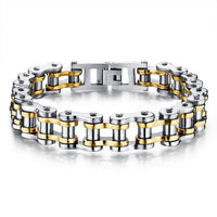 Cool Stainless Steel Men's Biker Chain Bracelet Gold Silver Bracelet