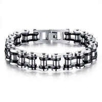Cool Stainless Steel Men's Biker Chain Bracelet Silver Black Bracelet