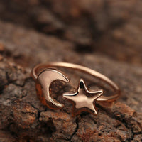 Crescent Moon and Star Adjustable Ring Rings