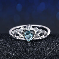 Crown Of The Sea Natural Aquamarine Sterling Silver Ring Rings