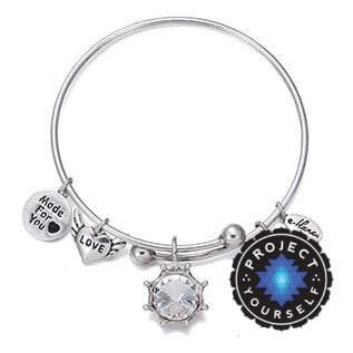 Crystal Birthstone Crown Charm Adjustable  Bangles April / Silver Bracelet