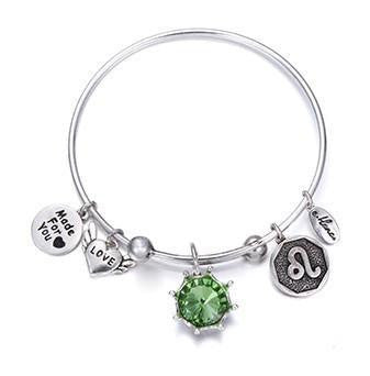 Crystal Birthstone Crown Charm Adjustable  Bangles August / Silver Bracelet
