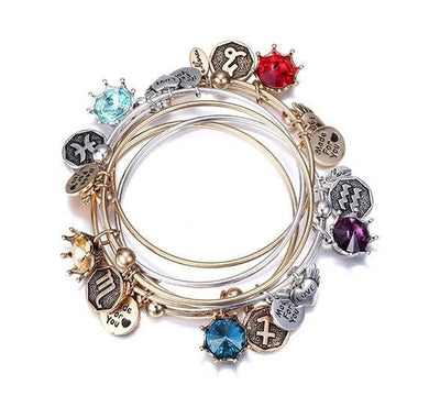 Crystal Birthstone Crown Charm Adjustable  Bangles Bracelet
