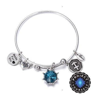 Crystal Birthstone Crown Charm Adjustable  Bangles December / Silver Bracelet