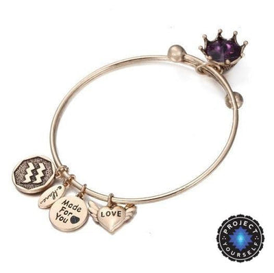 Crystal Birthstone Crown Charm Adjustable  Bangles February / Gold Bracelet