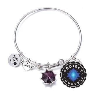 Crystal Birthstone Crown Charm Adjustable  Bangles February / Silver Bracelet