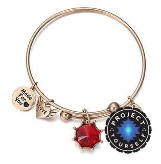 Crystal Birthstone Crown Charm Adjustable  Bangles January / Gold Bracelet