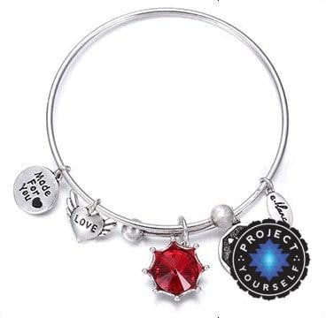 Crystal Birthstone Crown Charm Adjustable  Bangles January / Silver Bracelet