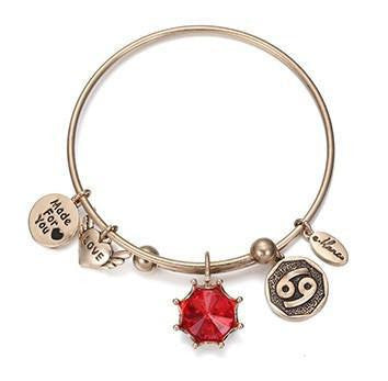 Crystal Birthstone Crown Charm Adjustable  Bangles July / Gold Bracelet