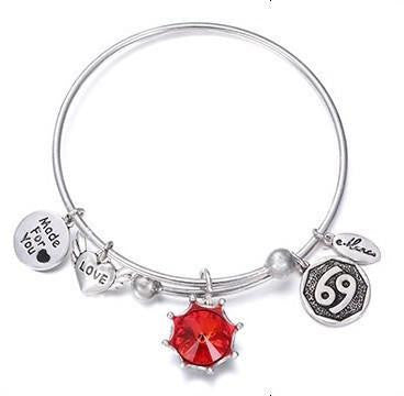 Crystal Birthstone Crown Charm Adjustable  Bangles July / Silver Bracelet