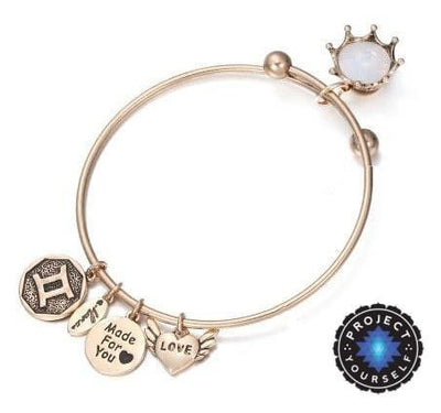 Crystal Birthstone Crown Charm Adjustable  Bangles June / Gold Bracelet