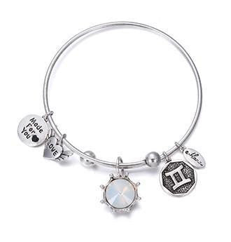 Crystal Birthstone Crown Charm Adjustable  Bangles June / Silver Bracelet