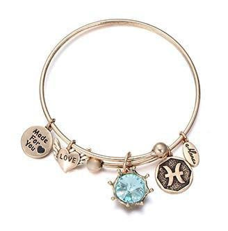 Crystal Birthstone Crown Charm Adjustable  Bangles March / Gold Bracelet