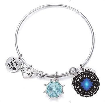 Crystal Birthstone Crown Charm Adjustable  Bangles March / Silver Bracelet