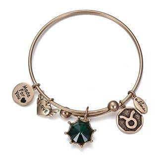 Crystal Birthstone Crown Charm Adjustable  Bangles May / Gold Bracelet