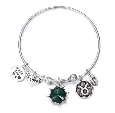 Crystal Birthstone Crown Charm Adjustable  Bangles May / Silver Bracelet
