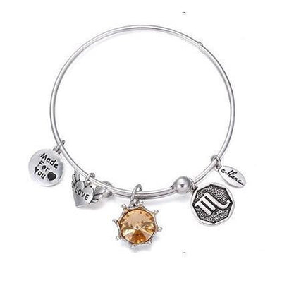 Crystal Birthstone Crown Charm Adjustable  Bangles November / Silver Bracelet