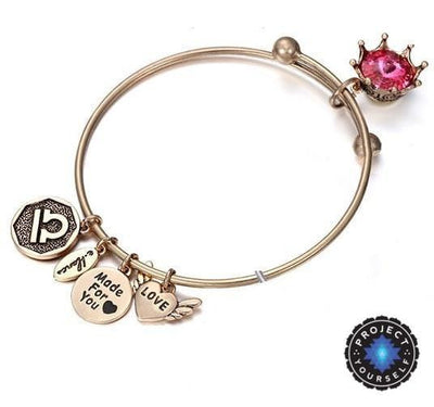 Crystal Birthstone Crown Charm Adjustable  Bangles October / Gold Bracelet