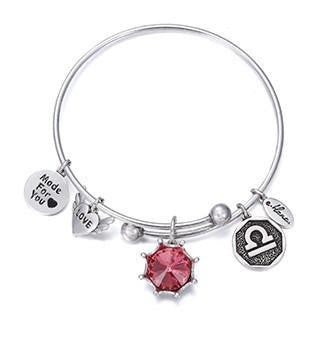 Crystal Birthstone Crown Charm Adjustable  Bangles October / Silver Bracelet