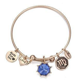 Crystal Birthstone Crown Charm Adjustable  Bangles September / Gold Bracelet