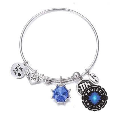 Crystal Birthstone Crown Charm Adjustable  Bangles September / Silver Bracelet