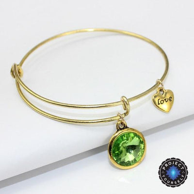 Crystal Birthstone Gold Plated Charm Adjustable Bangles August Bracelet