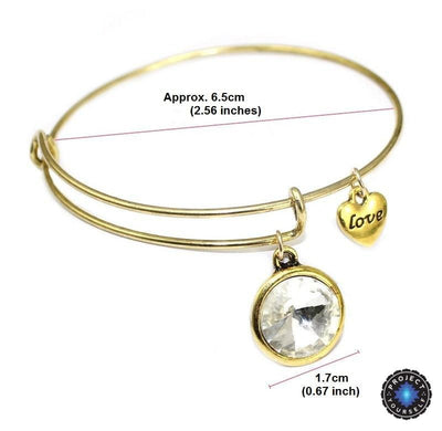 Crystal Birthstone Gold Plated Charm Adjustable Bangles Bracelet
