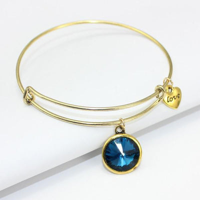 Crystal Birthstone Gold Plated Charm Adjustable Bangles December Bracelet