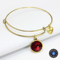 Crystal Birthstone Gold Plated Charm Adjustable Bangles January Bracelet