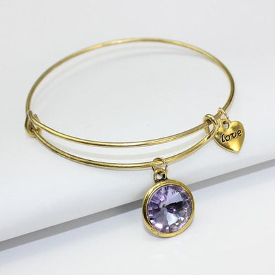 Crystal Birthstone Gold Plated Charm Adjustable Bangles June Bracelet