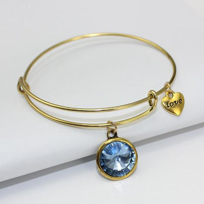 Crystal Birthstone Gold Plated Charm Adjustable Bangles March Bracelet