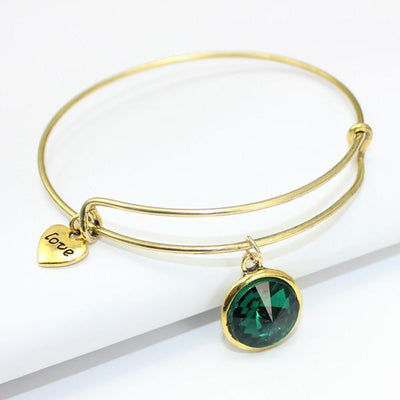 Crystal Birthstone Gold Plated Charm Adjustable Bangles May Bracelet