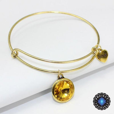 Crystal Birthstone Gold Plated Charm Adjustable Bangles November Bracelet