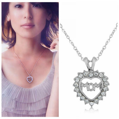 "Crystal Heart ""Mom"" Pendant Necklace Necklace"
