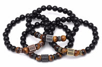 Crystal Paved Hexagon Prism Tiger Eye Bracelet Bracelet