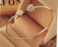 Crystal Paved Peach Heart Open Adjustable Bangle Bracelet
