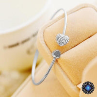 Crystal Paved Peach Heart Open Adjustable Bangle Silver Bracelet