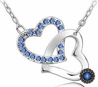 Crystal Studded Linked Hearts Pendant Necklace dark blue Necklace