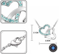 Crystal Studded Linked Hearts Pendant Necklace Necklace