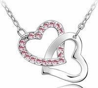 Crystal Studded Linked Hearts Pendant Necklace pink Necklace