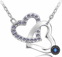 Crystal Studded Linked Hearts Pendant Necklace purple Necklace