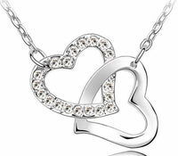 Crystal Studded Linked Hearts Pendant Necklace white Necklace