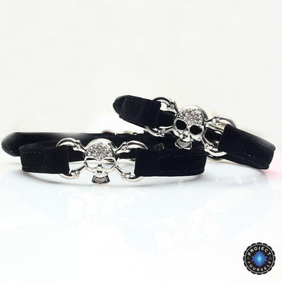 Crystal Studded Skull Pet Collar Small Crystals