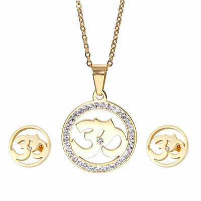 Crystal Studded Stainless Steel Om Earrings and Necklace Jewelry Sets Gold Jewelry Set