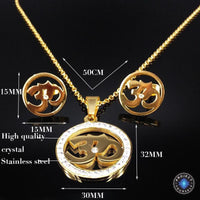 Crystal Studded Stainless Steel Om Earrings and Necklace Jewelry Sets Jewelry Set