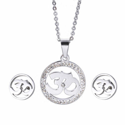 Crystal Studded Stainless Steel Om Earrings and Necklace Jewelry Sets Silver Jewelry Set