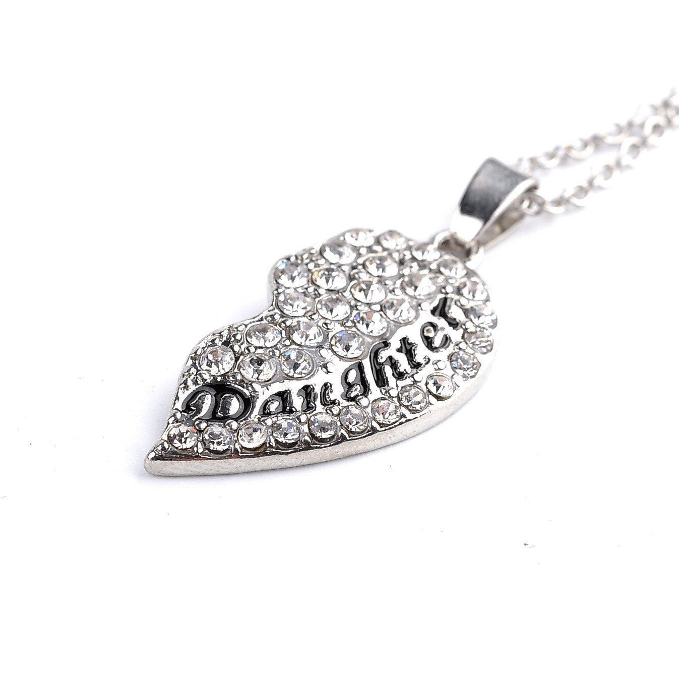 Crystal studded two part heart mother daughter pendant necklace set crystal studded two part heart mother daughter pendant necklace set necklace aloadofball Images