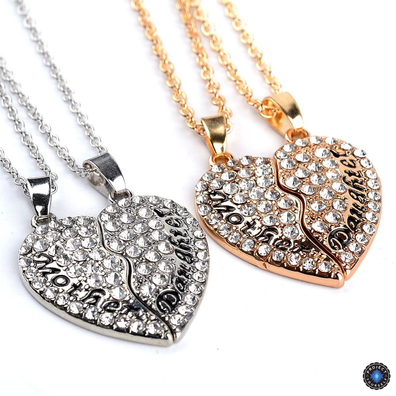 Crystal studded two part heart mother daughter pendant necklace crystal studded two part heart mother daughter pendant necklace set necklace aloadofball Gallery